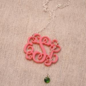 3 Initials Monogram Necklace With S..