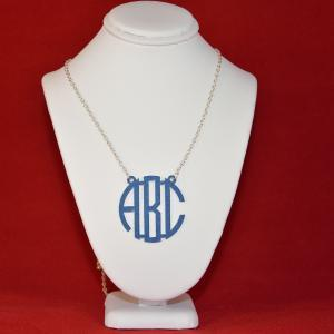 3 Initials Monogram Necklace - 1.5 ..