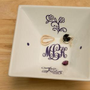 Monogrammed Jewelry Plate with KK M..