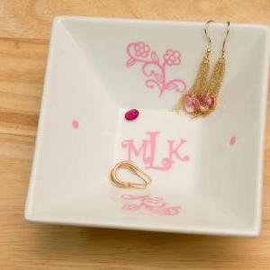 Monogrammed Jewelry Plate with Curl..