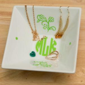 Monogrammed Jewelry Plate with Natu..