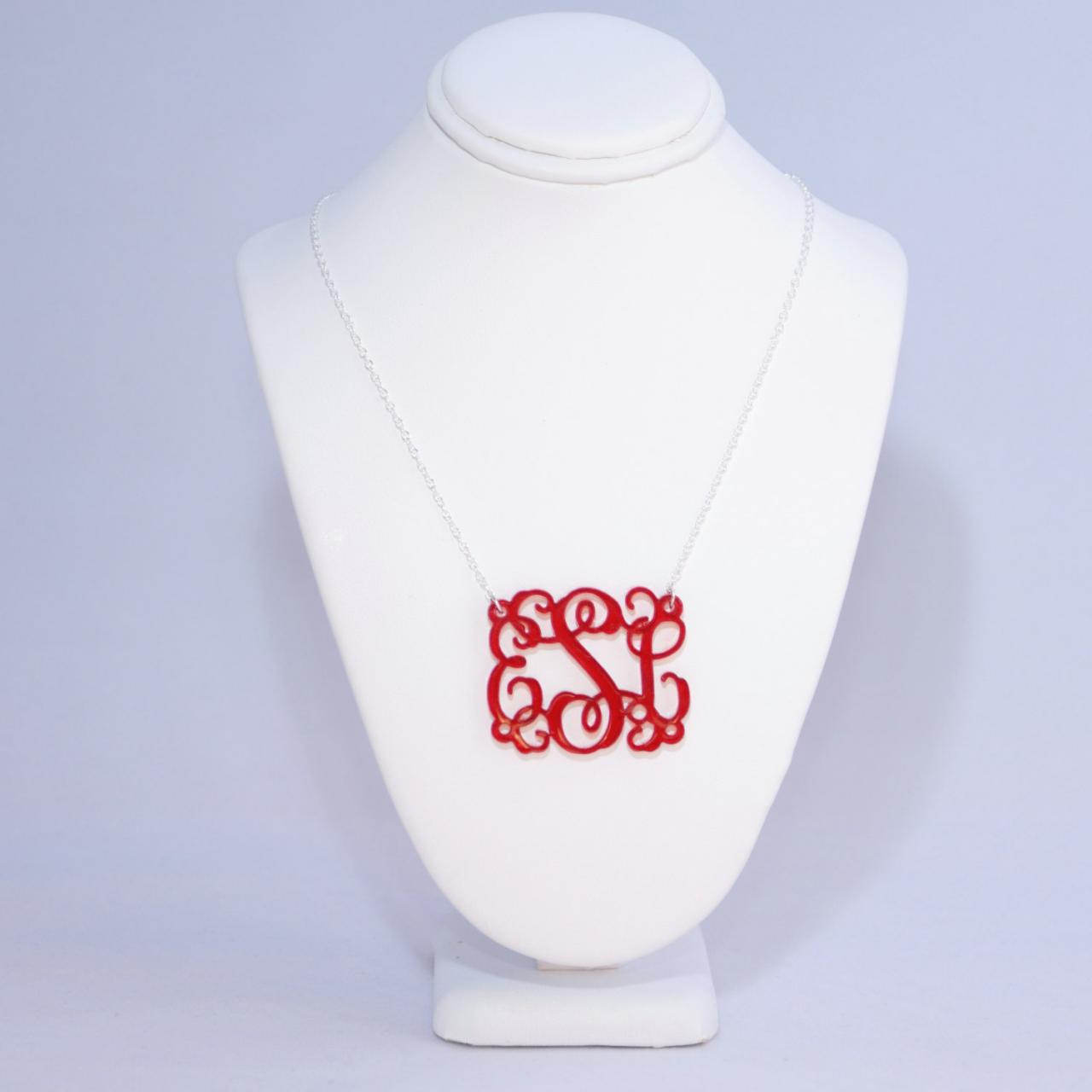3 Initials Vine Monogram Necklace - 1.5 inch Personalized Monogram Handmade Acrylic Custom Lasercut