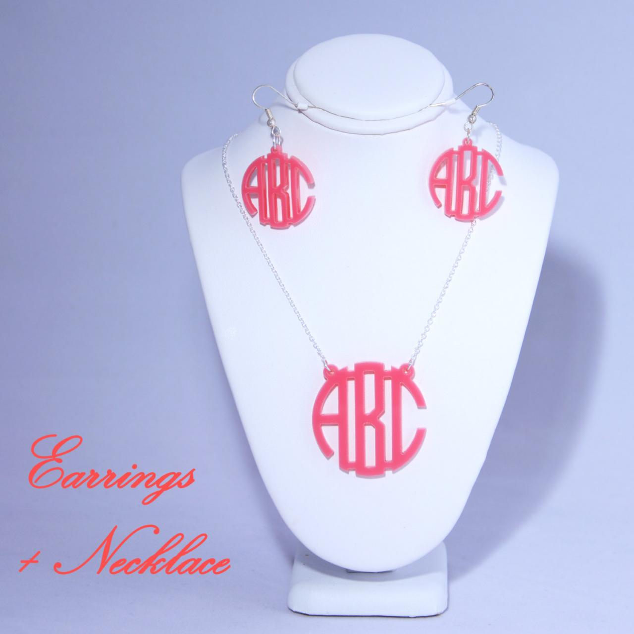 Circle Font 3 Initials Monogram Necklace and Earrings Set - Personalized Monogram Acrylic Custom Lasercut