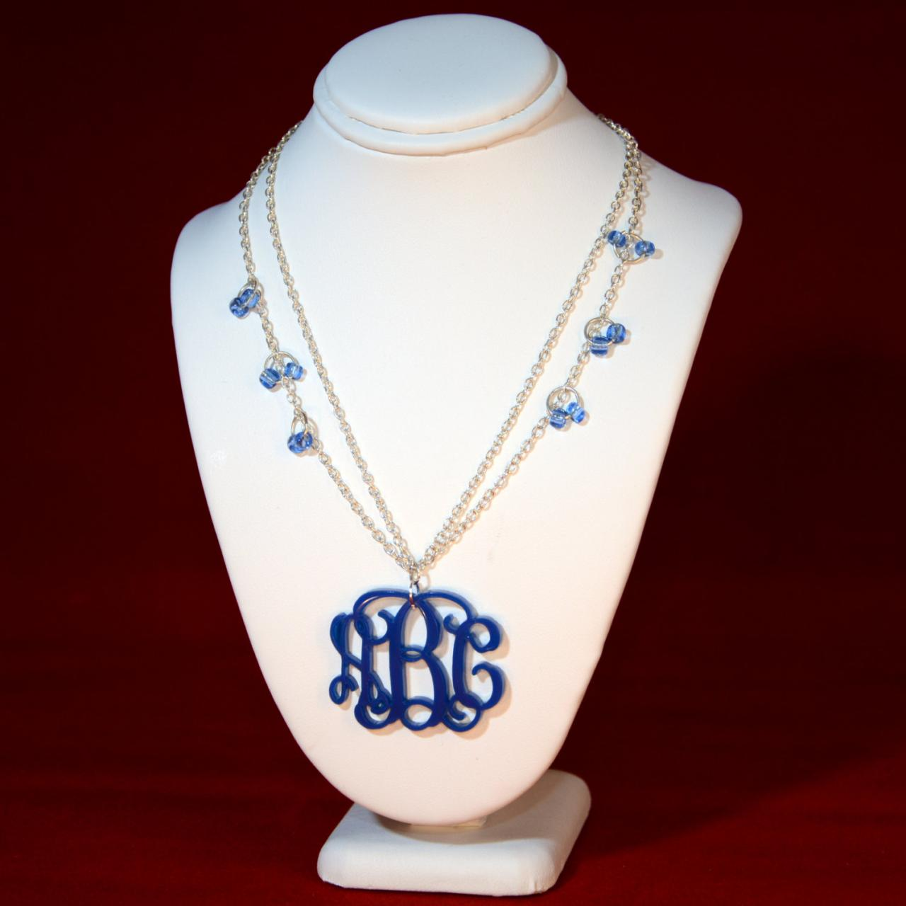 True Blue 3 Initials Monogram Necklace With Silver Chain and blue color bids - 1.5 inch Vine Personalized Monogram Acrylic Custom Lasercut