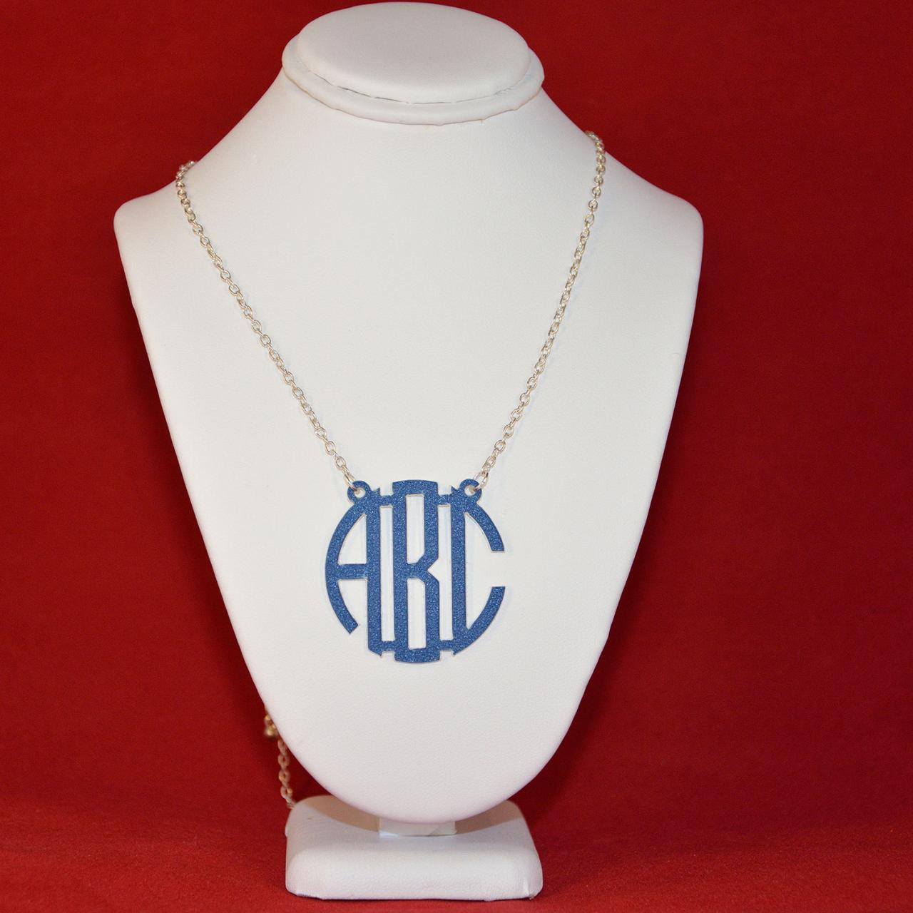 3 Initials Monogram Necklace - 1.5 inch Vine Personalized Monogram Custom Lasercut
