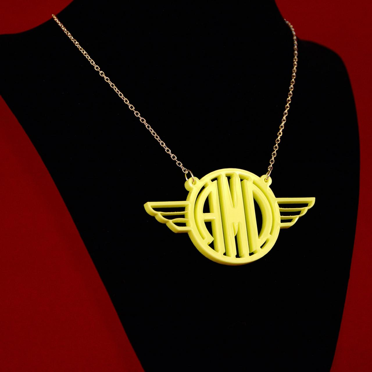 Wings Monogram Necklace Pendant Personalized Custom Made