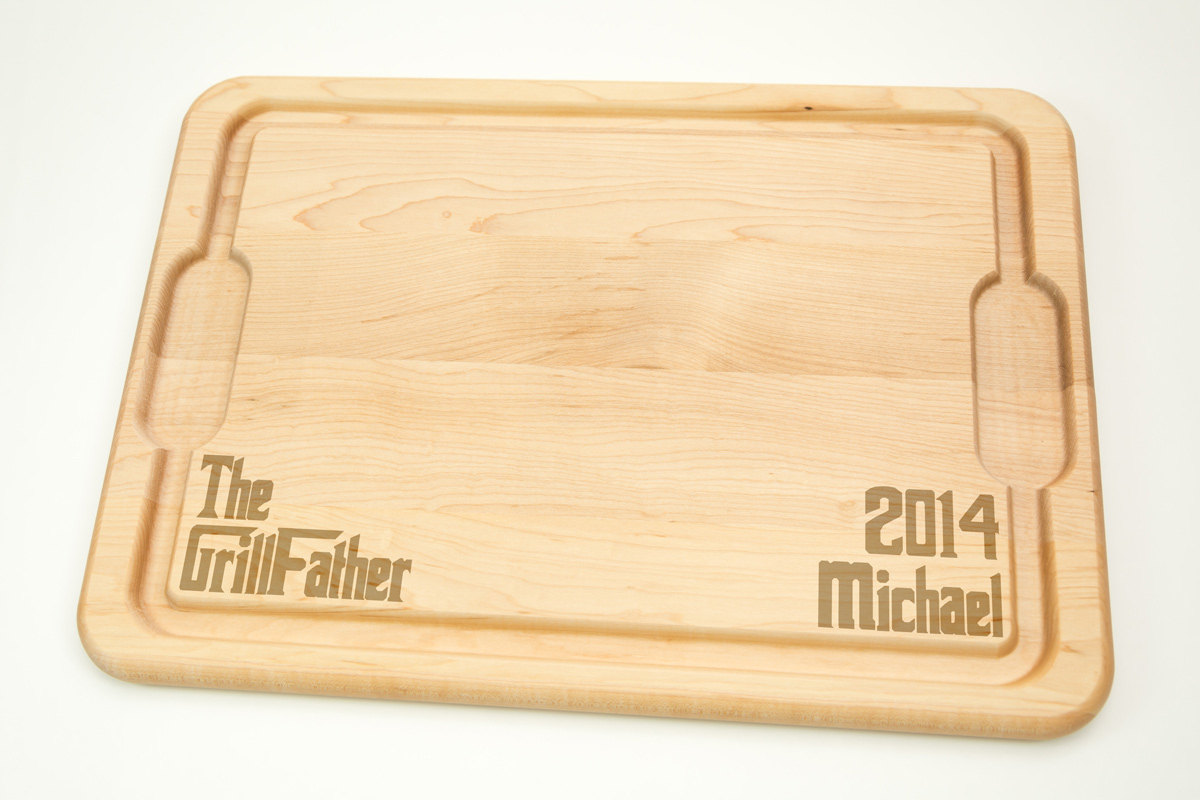 Personalized with name The GrillFather Cutting Board - Hardwood Cutting Board 12' by 17', Laser cut engraving on wood desig