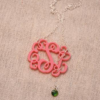 3 Initials Monogram Necklace With Swarovski Crystal - 1.5 inch Vine Personalized Monogram Acrylic Custom Lasercut