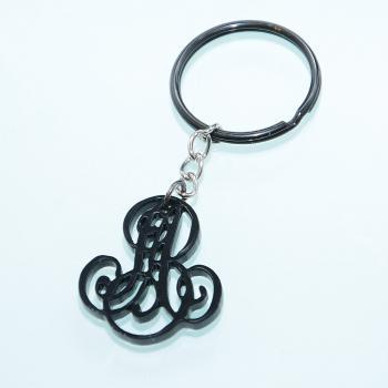 "2 Initials Monogram Keychain - 1.5 inch French Style ""Chiffres - deux lettres"" Personalized Monogram Acrylic Custom Lasercut"