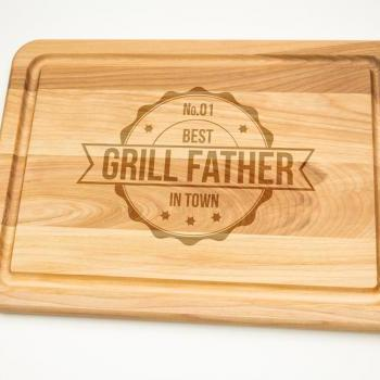Grill Father Best In Town Hardwood Cutting Board 10'' x 14'' , Laser cut engraving on wood designed to