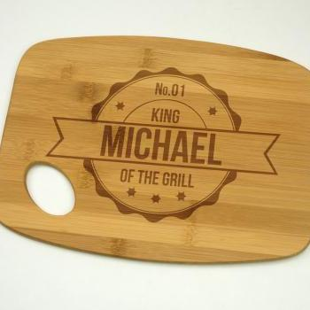 King Of The Grill with Name Bamboo Cutting Board 9