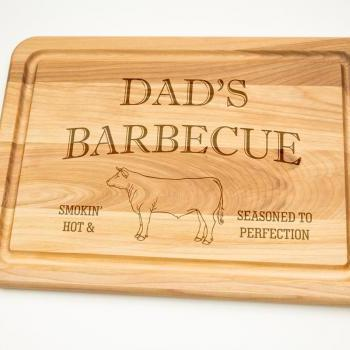 Dads Barbecue Smokin' Hot and Seasoned to perfection Hardwood Cutting Board 12